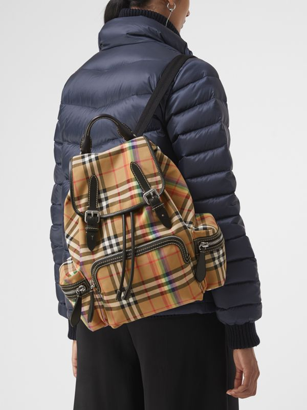 The Medium Rucksack in Rainbow Vintage Check in Antique Yellow - Women | Burberry United Kingdom - cell image 3
