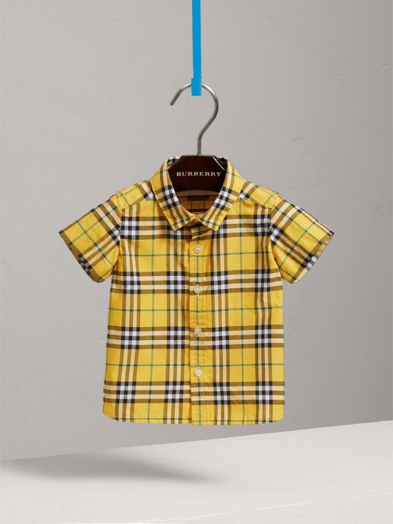 Short-sleeve Check Cotton Shirt in Bright Yellow | Burberry - cell image 2