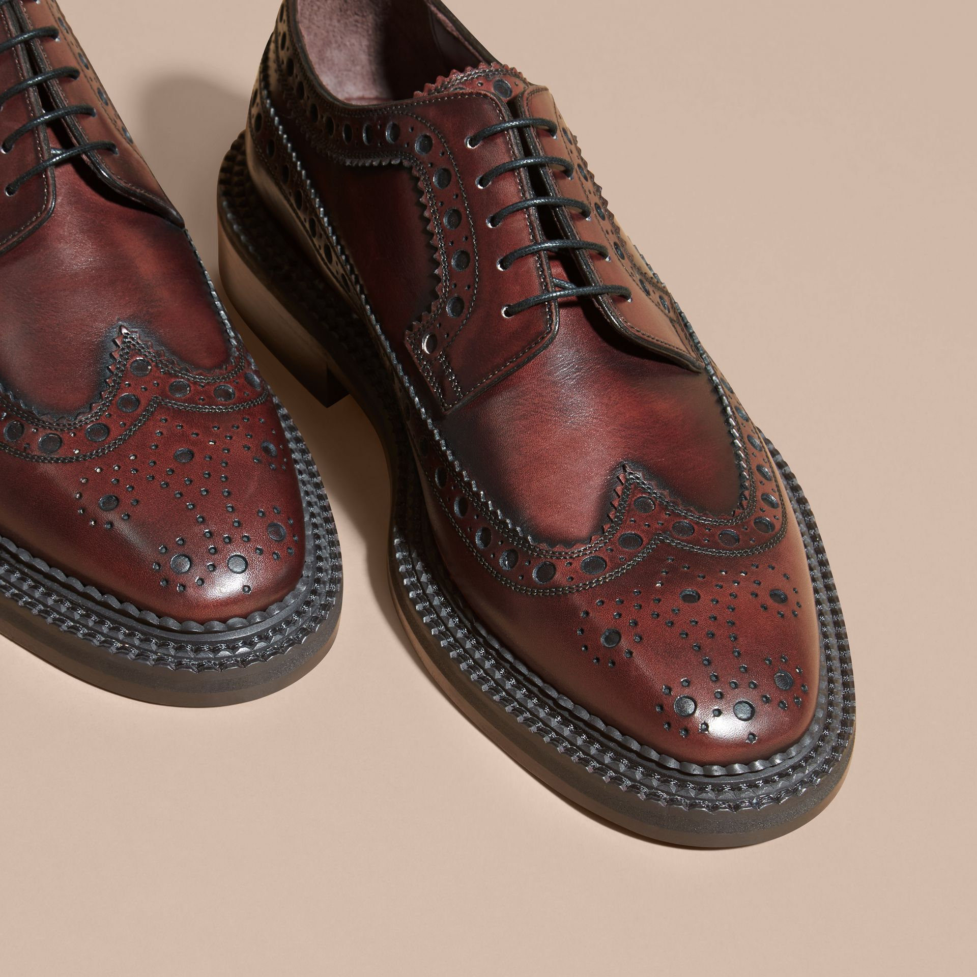 Bordeaux Leather Derby Brogues - gallery image 3