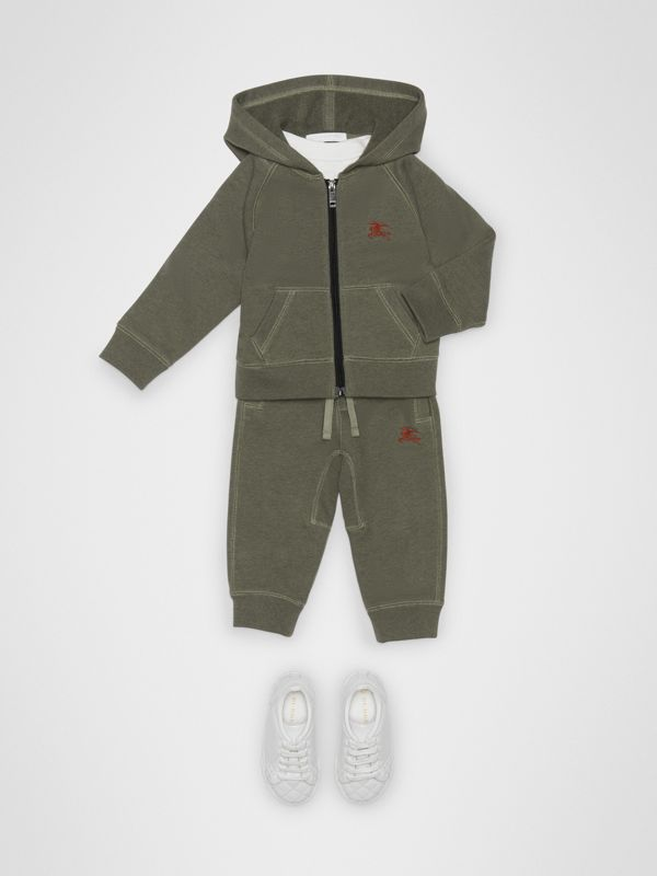 Cotton Jersey Hooded Top in Olive Melange - Children | Burberry Australia - cell image 2