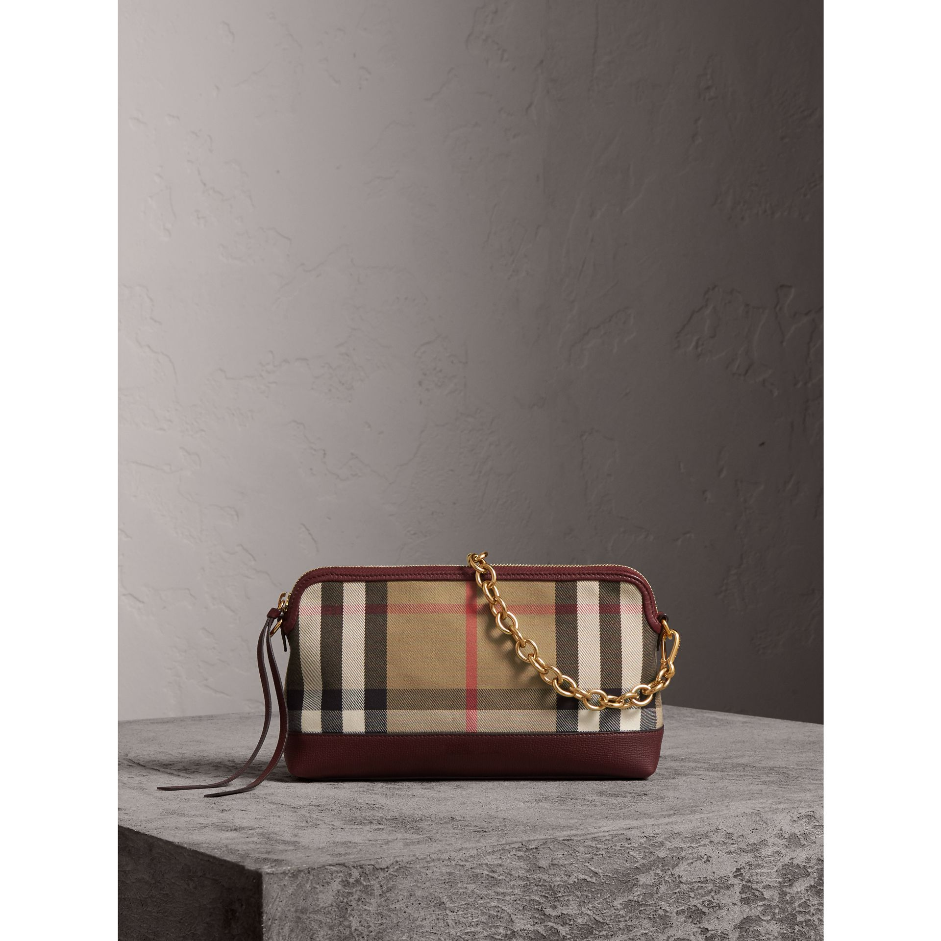 House Check and Leather Clutch Bag in Mahogany Red - Women | Burberry - gallery image 1