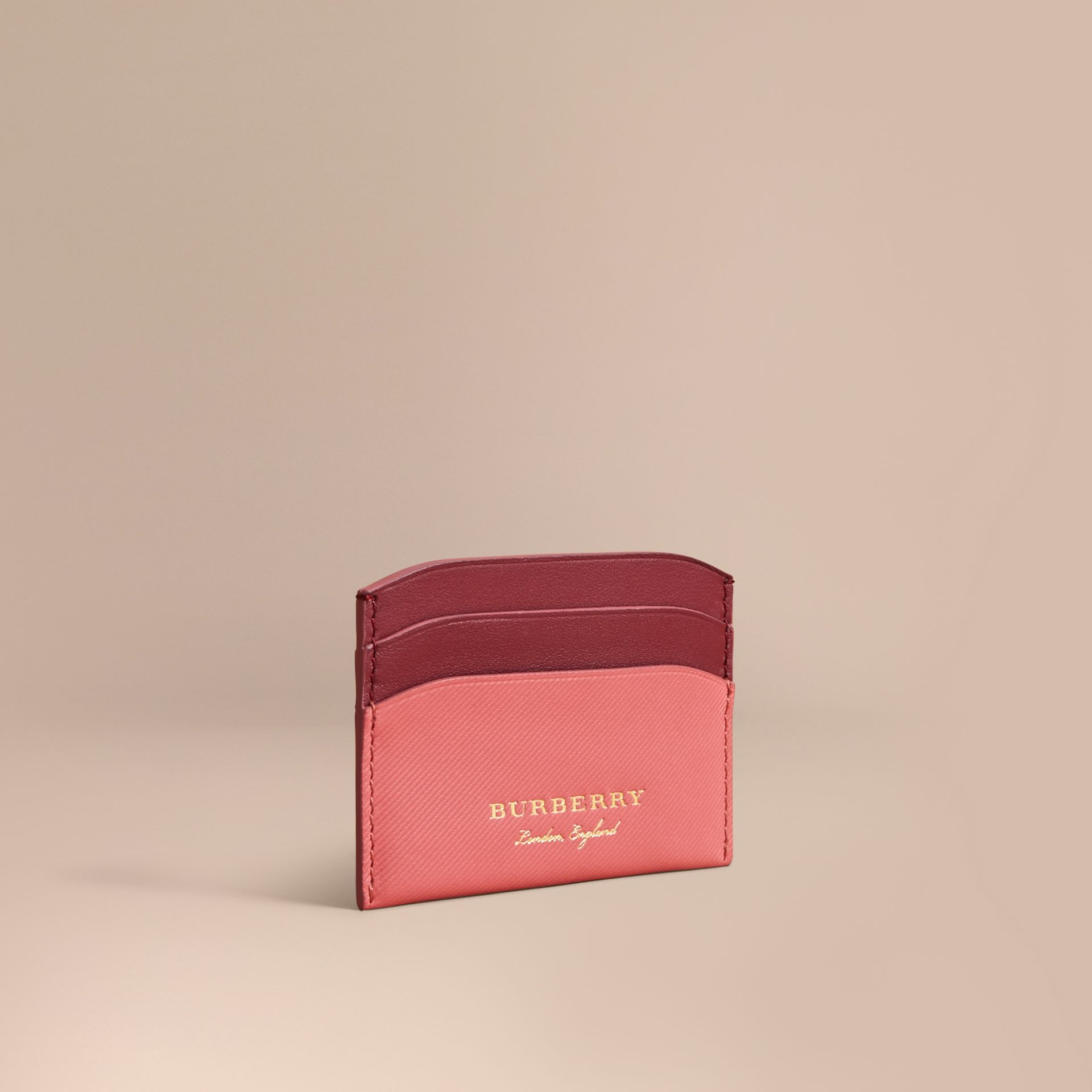 Two-tone Trench Leather Card Case in Blossom Pink/ Antique Red - Women | Burberry - gallery image 1