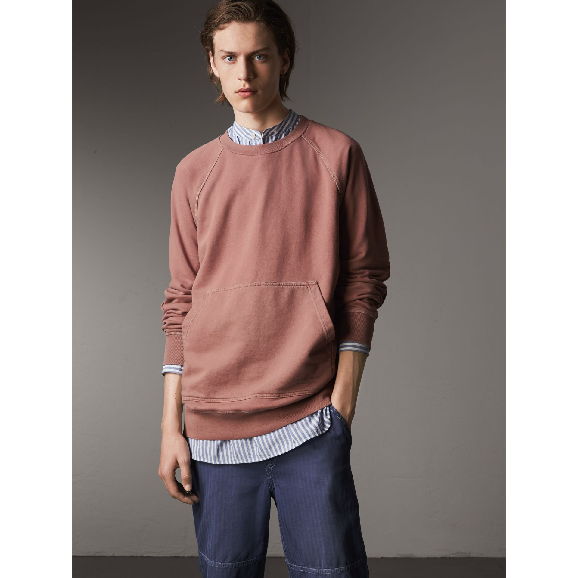 Unisex Pigment-dyed Cotton Oversize Sweatshirt in Dusty Mauve - Men | Burberry Hong Kong - gallery image 1