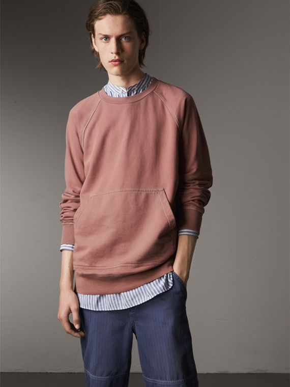 Unisex Pigment-dyed Cotton Oversize Sweatshirt in Dusty Mauve - Men | Burberry Australia