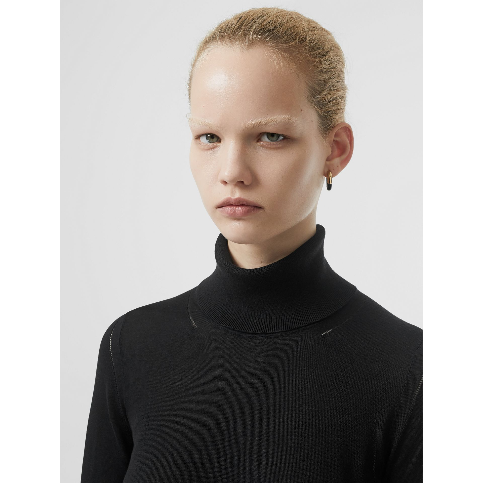 Silk Cashmere Roll-neck Sweater in Black - Women | Burberry Canada - gallery image 1
