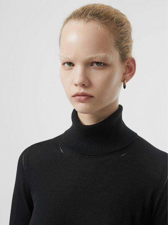 Silk Cashmere Roll-neck Sweater in Black - Women | Burberry Canada - cell image 1