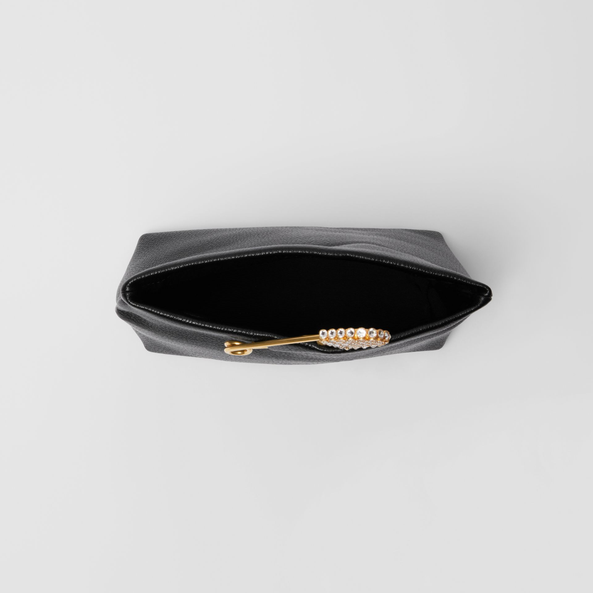 The Small Pin Clutch in Leather in Black - Women | Burberry - gallery image 4