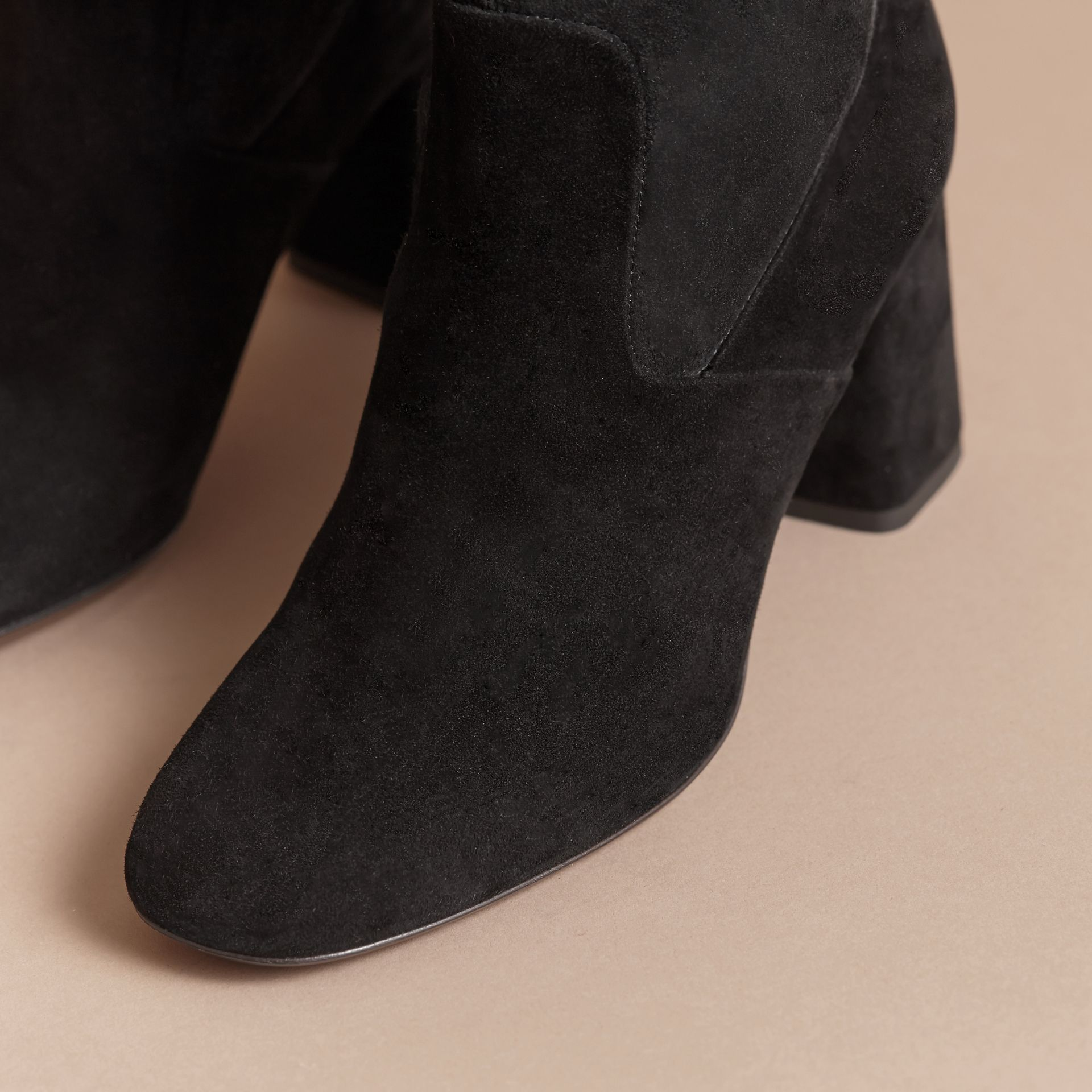 Buckle Detail Kidskin Boots in Black - Women | Burberry - gallery image 5