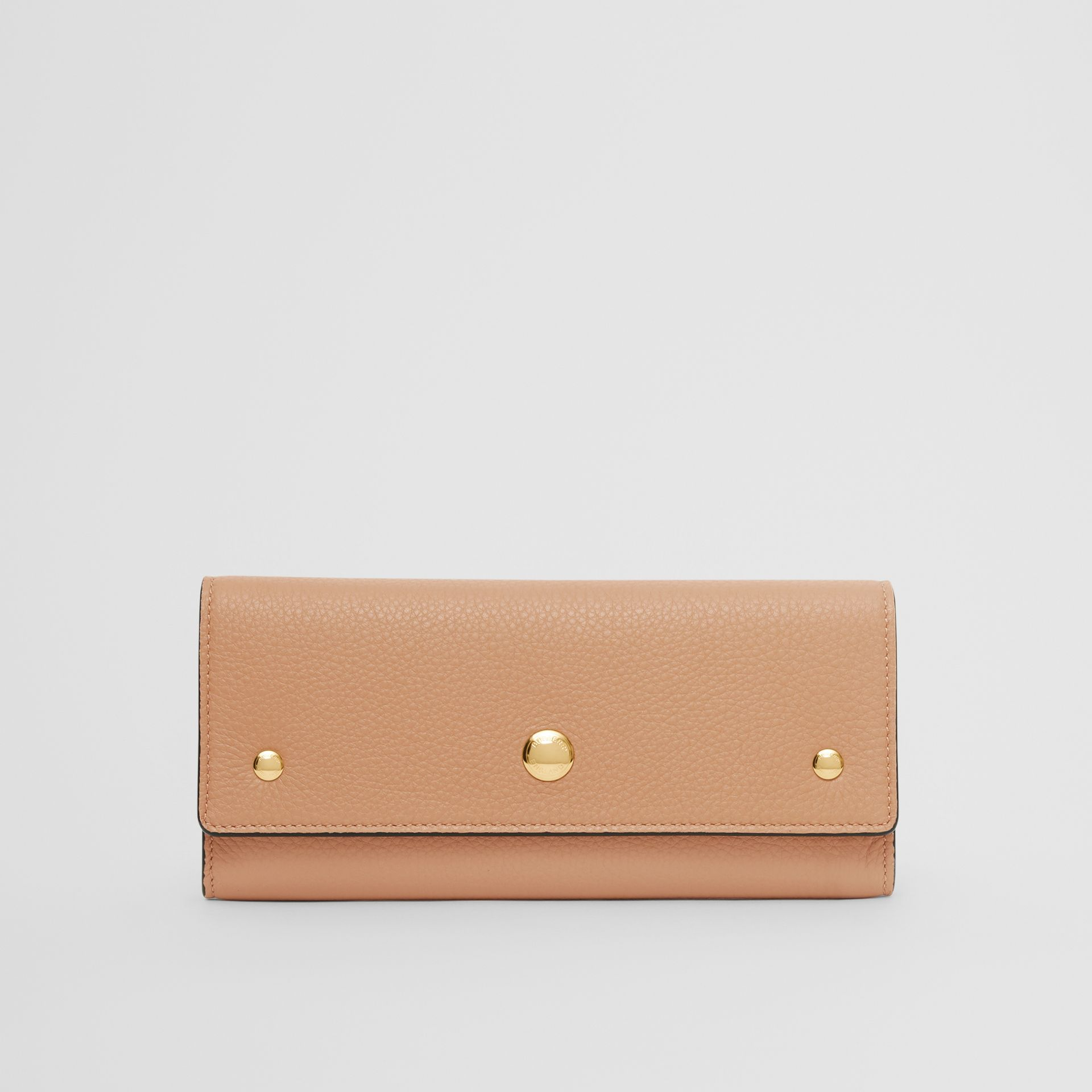 Grainy Leather Continental Wallet in Light Camel - Women | Burberry - gallery image 0