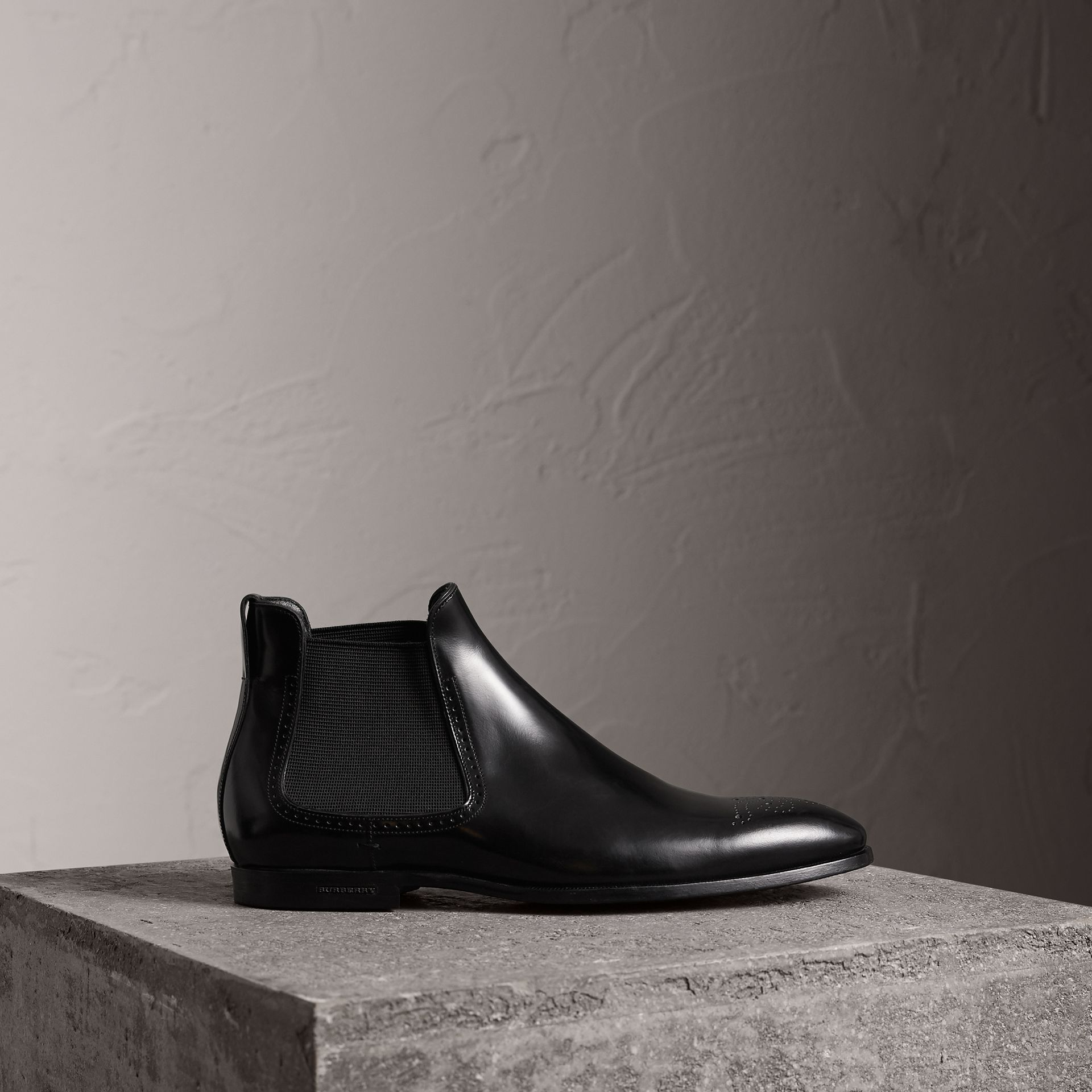 Perforated Detail Leather Chelsea Boots in Black - Men | Burberry - gallery image 0