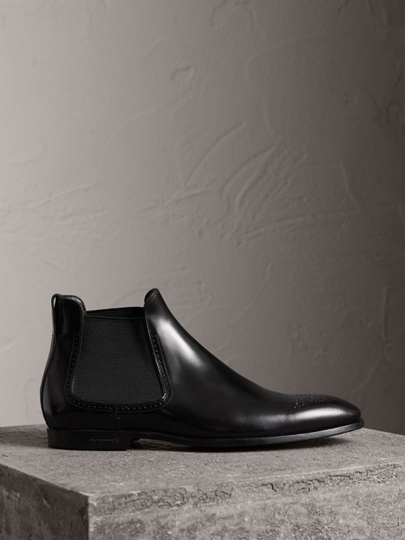 Perforated Detail Leather Chelsea Boots in Black