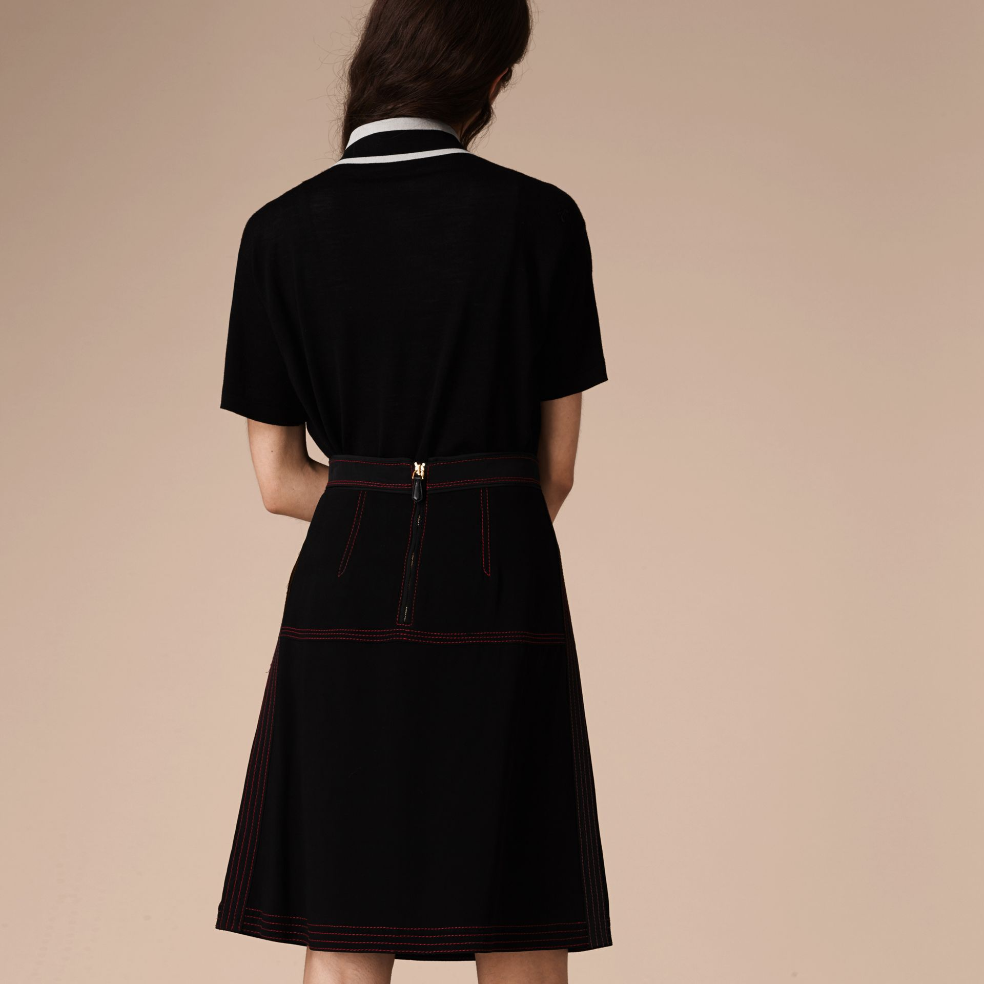 Black Military Pleat A-line Skirt - gallery image 3