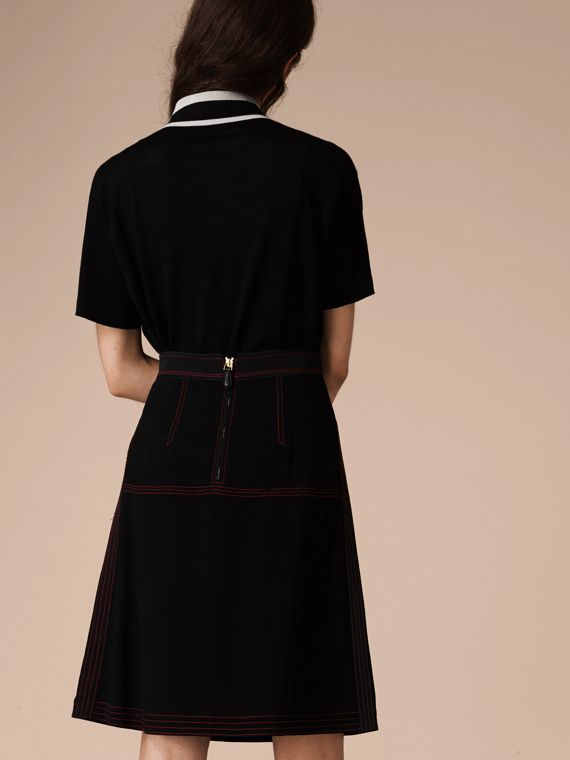 Black Military Pleat A-line Skirt - cell image 2
