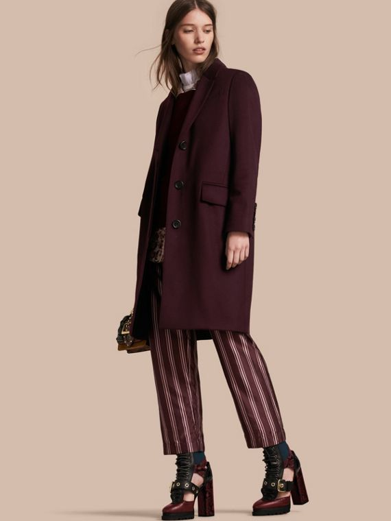 Cashmere Tailored Coat Dark Elderberry