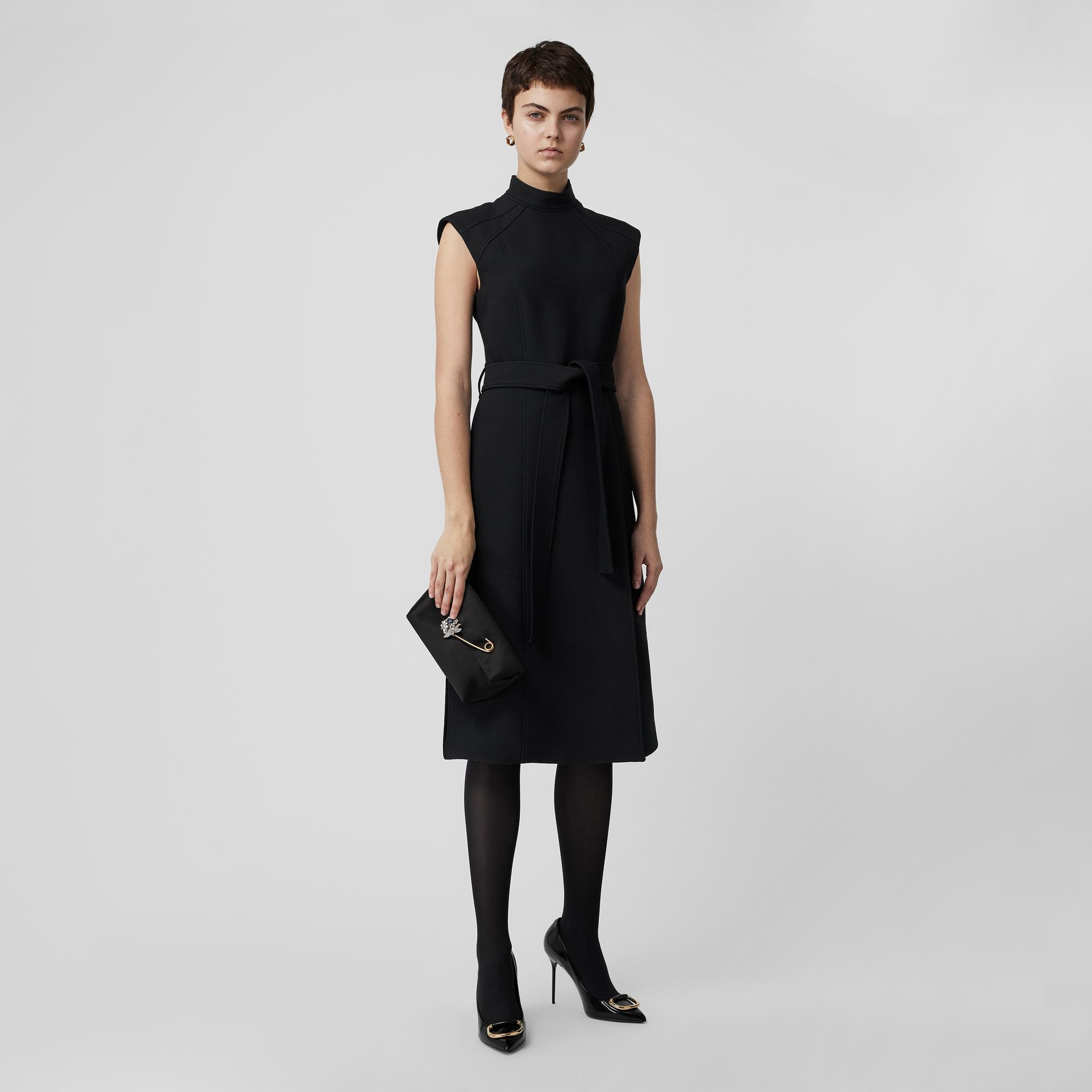 Wool Silk Belted Dress in Black - Women | Burberry United Kingdom - gallery image 0