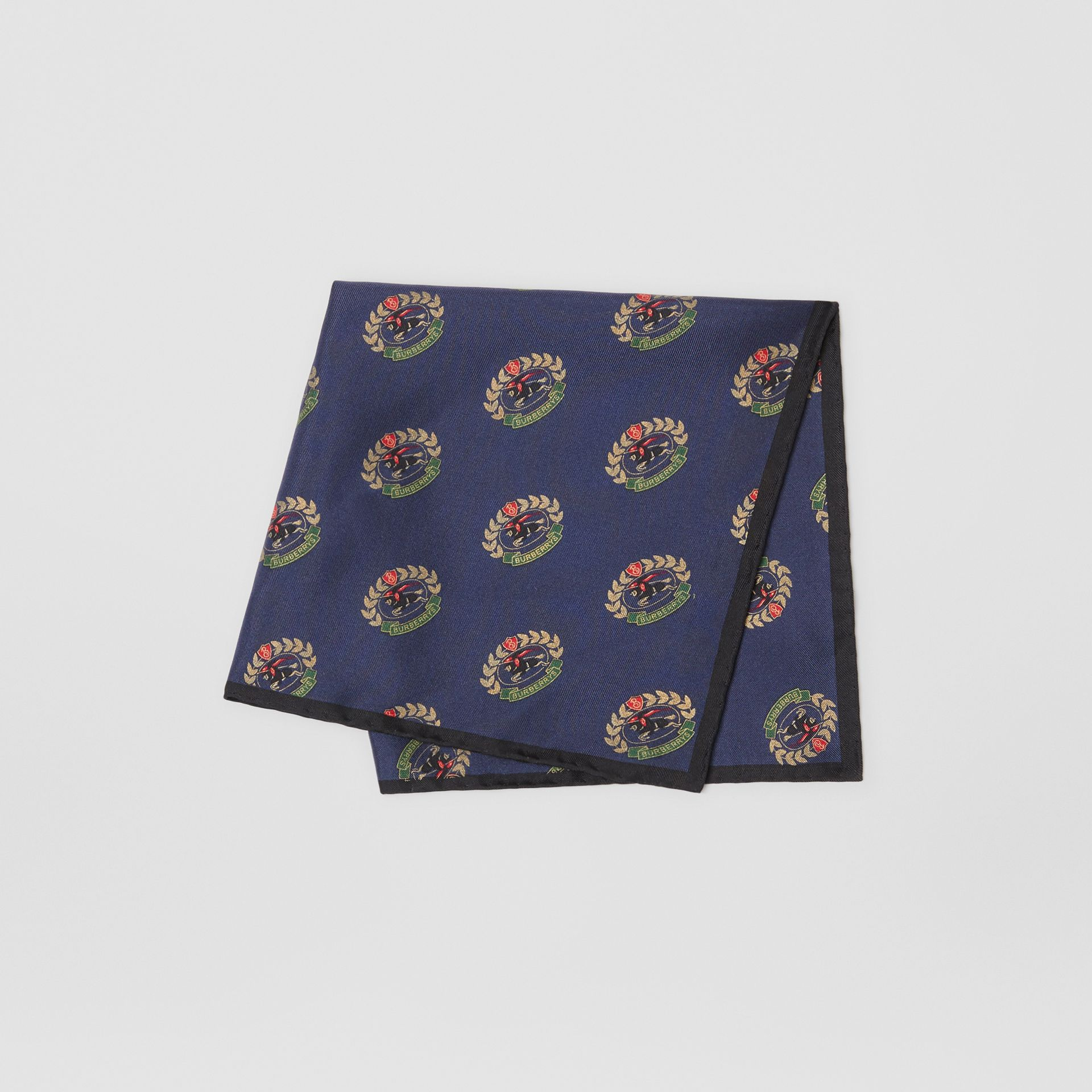 Archive Logo Print Silk Pocket Square in Navy - Men | Burberry - gallery image 3
