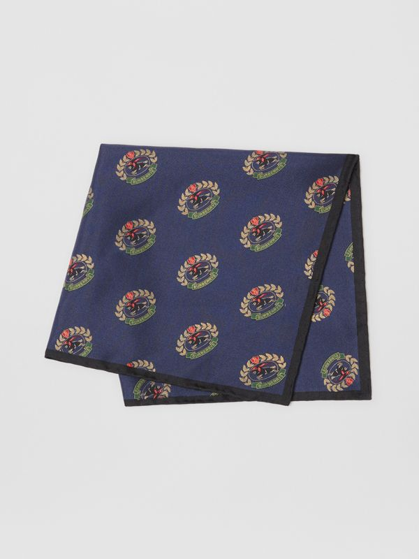 Archive Logo Print Silk Pocket Square in Navy - Men | Burberry - cell image 3