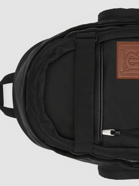 Large Monogram Motif Appliqué Nylon Nevis Backpack in Black | Burberry United Kingdom - cell image 1