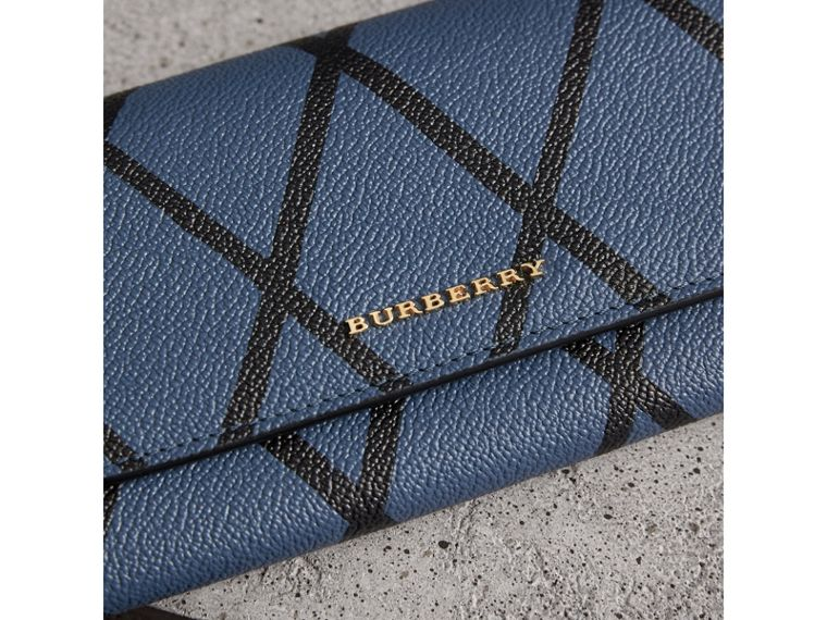 Trompe L'oeil Print Leather Continental Wallet in Steel Blue - Women | Burberry - cell image 1
