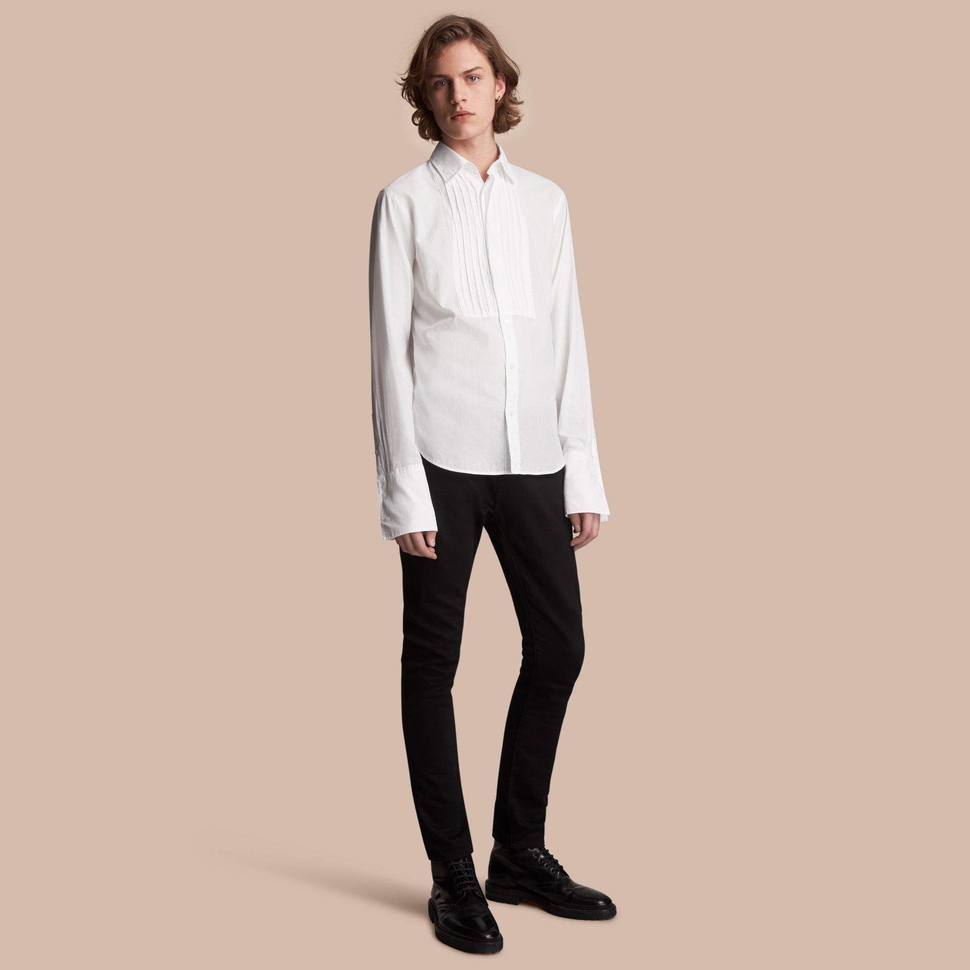 Unisex Double-cuff Pintuck Bib Cotton Shirt in White - Men | Burberry - gallery image 1