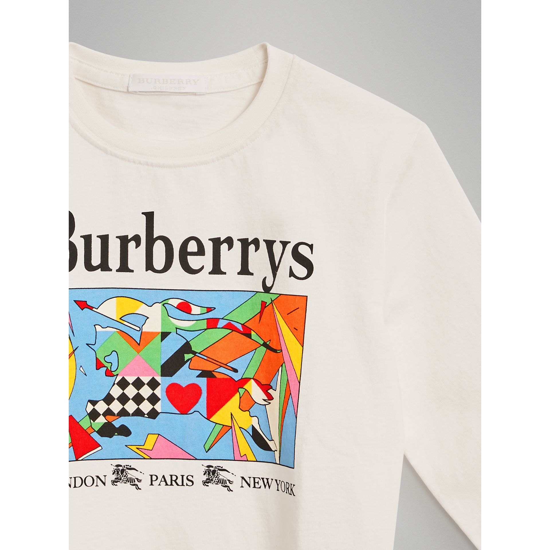 Archive Logo Print Cotton Sweatshirt in White | Burberry - gallery image 4
