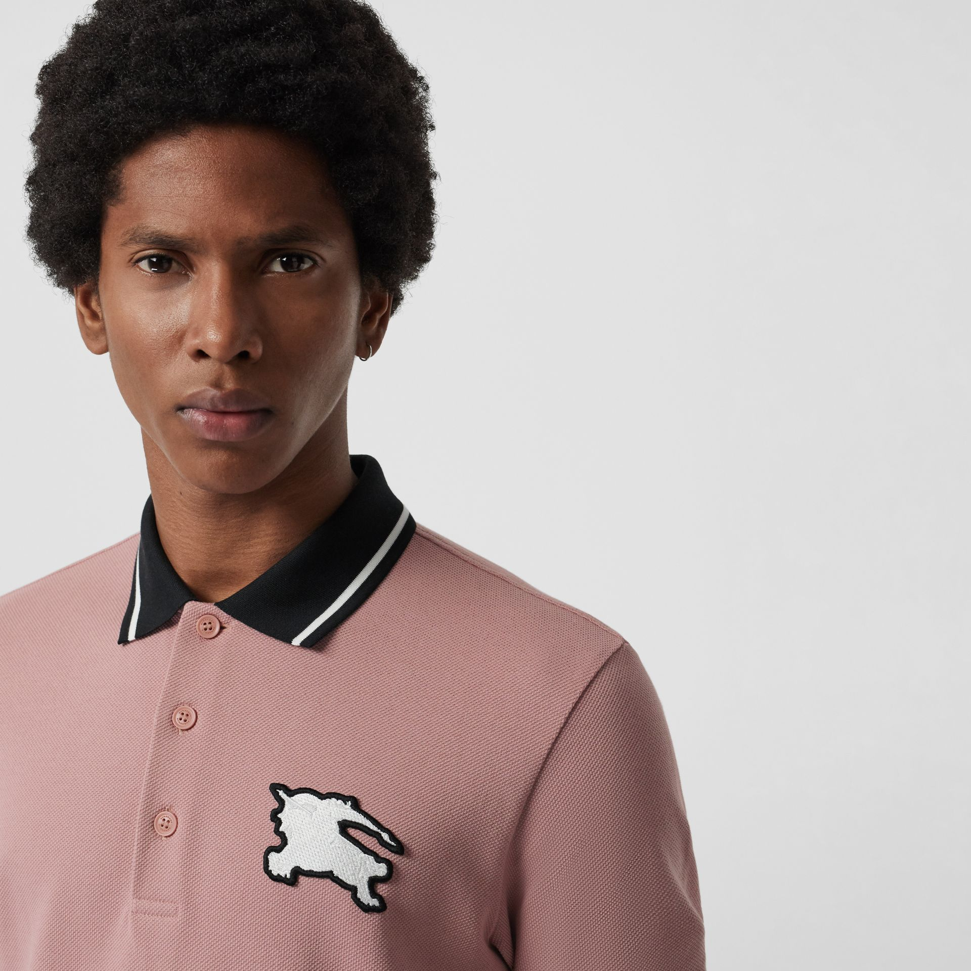 Tipped Cotton Piqué Polo Shirt in Pale Orchid - Men | Burberry - gallery image 1