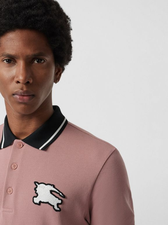 Tipped Cotton Piqué Polo Shirt in Pale Orchid - Men | Burberry United Kingdom - cell image 1