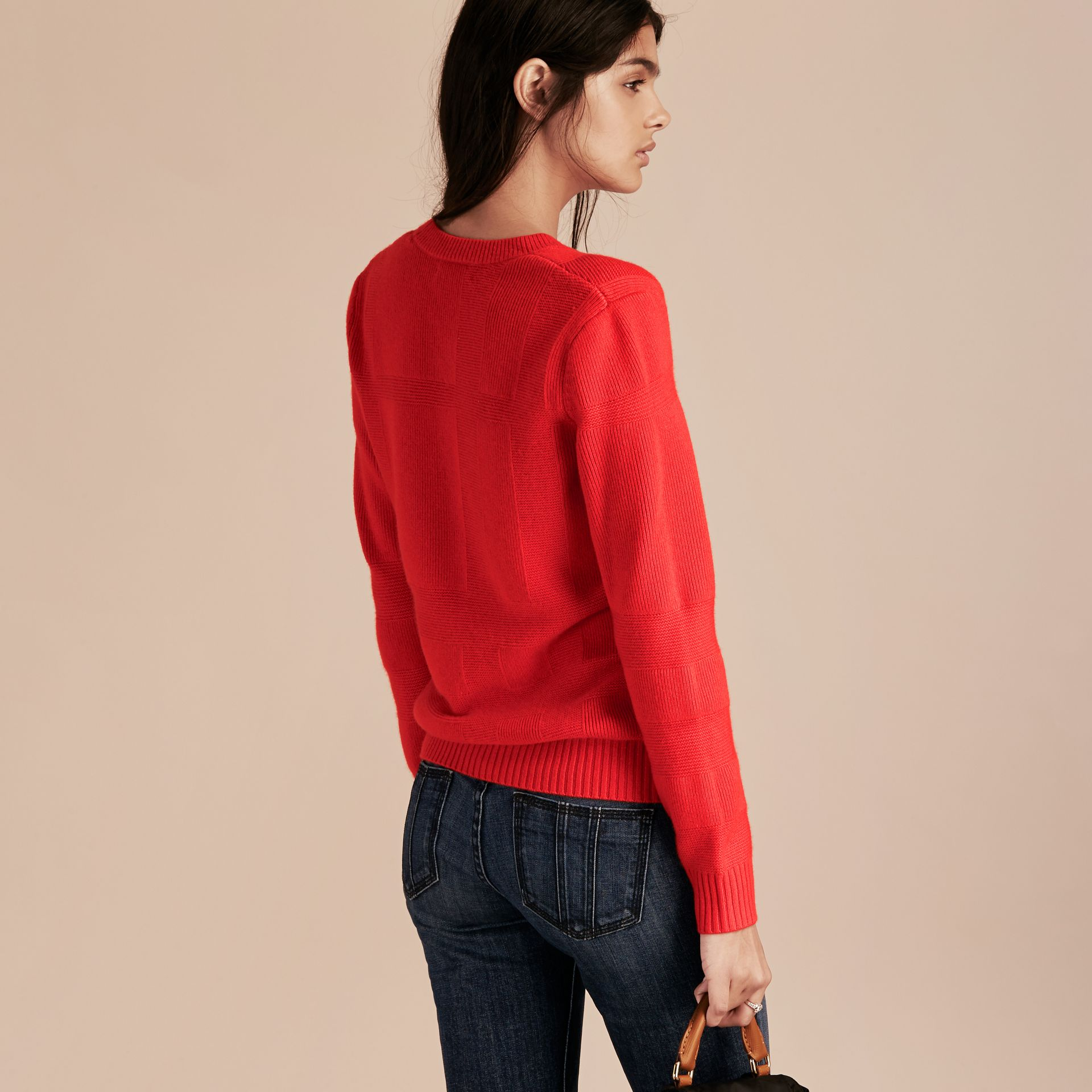 Bright military red Check-knit Wool Cashmere Sweater Bright Military Red - gallery image 3