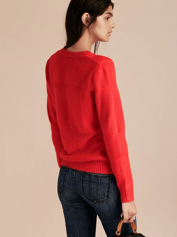 Bright military red Check-knit Wool Cashmere Sweater Bright Military Red - cell image 2