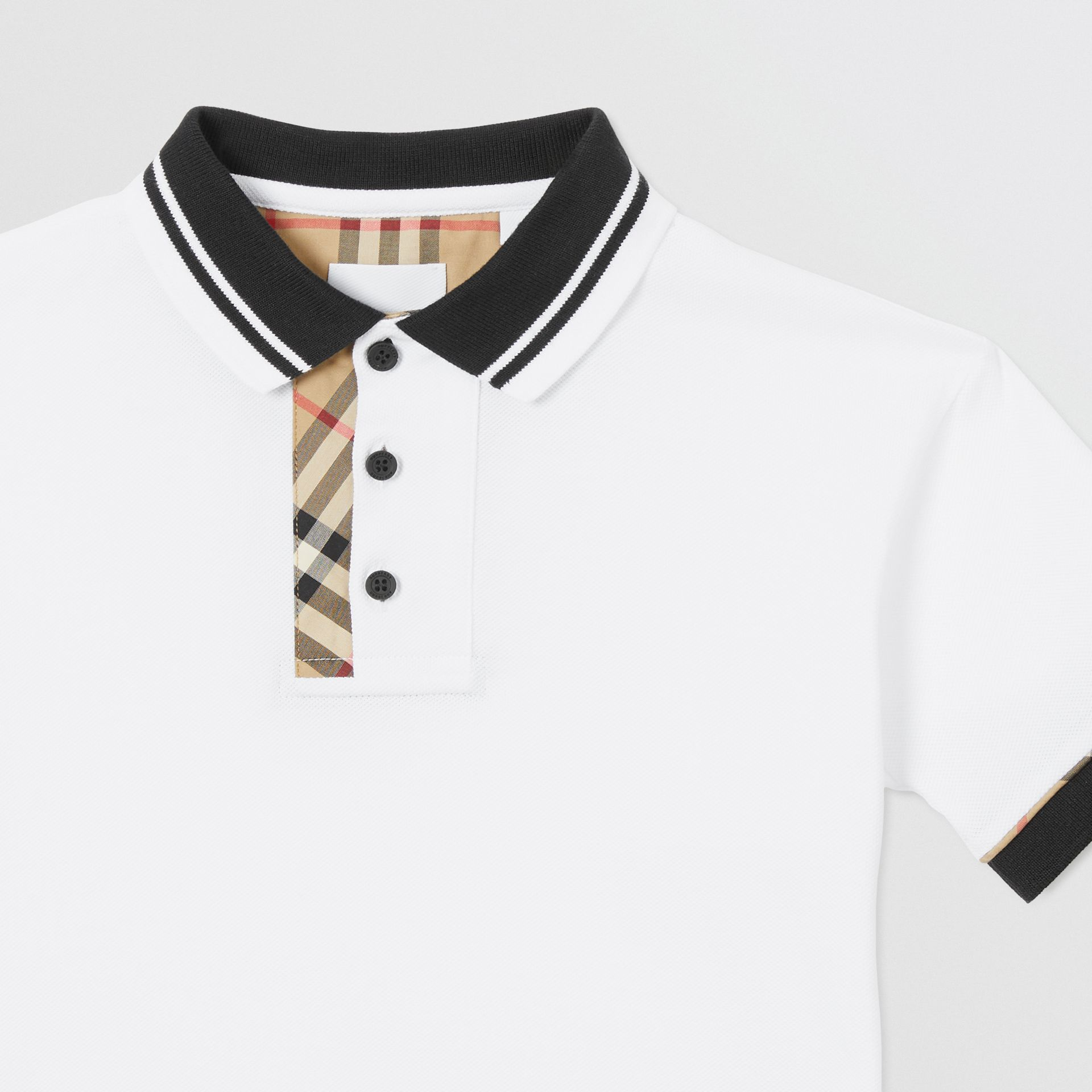 Vintage Check Trim Cotton Polo Shirt in White | Burberry - gallery image 5