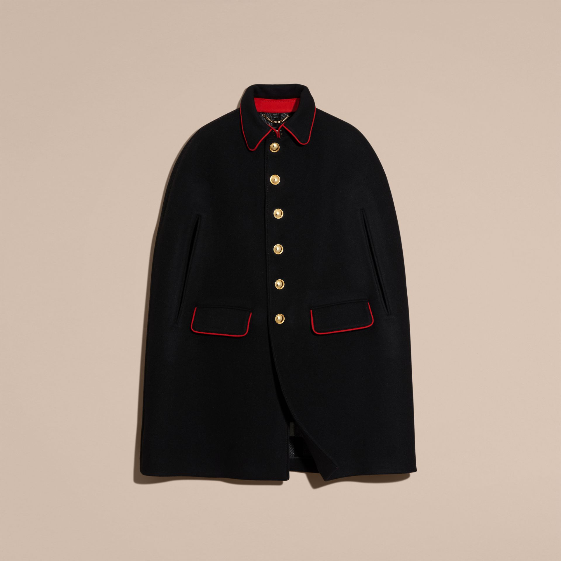 Black Wool Cashmere Blend Military Cape Coat - gallery image 4
