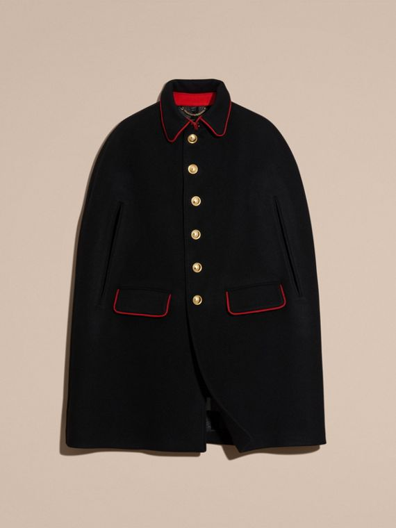 Black Wool Cashmere Blend Military Cape Coat - cell image 3