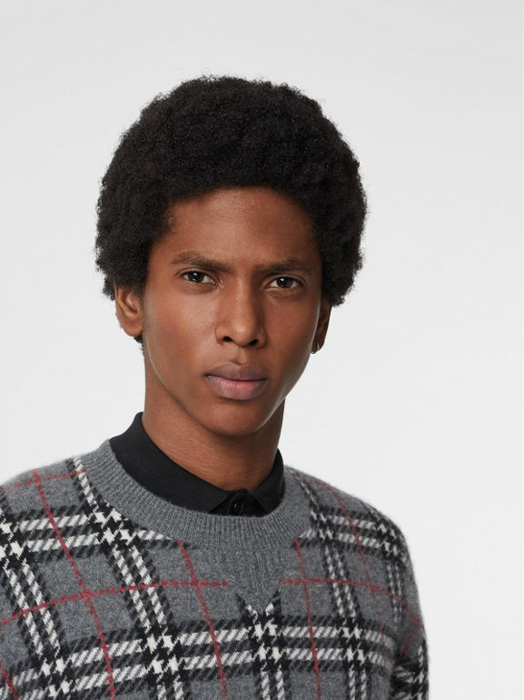 Check Cashmere Jacquard Sweater in Mid Grey Melange - Men | Burberry United Kingdom - cell image 1