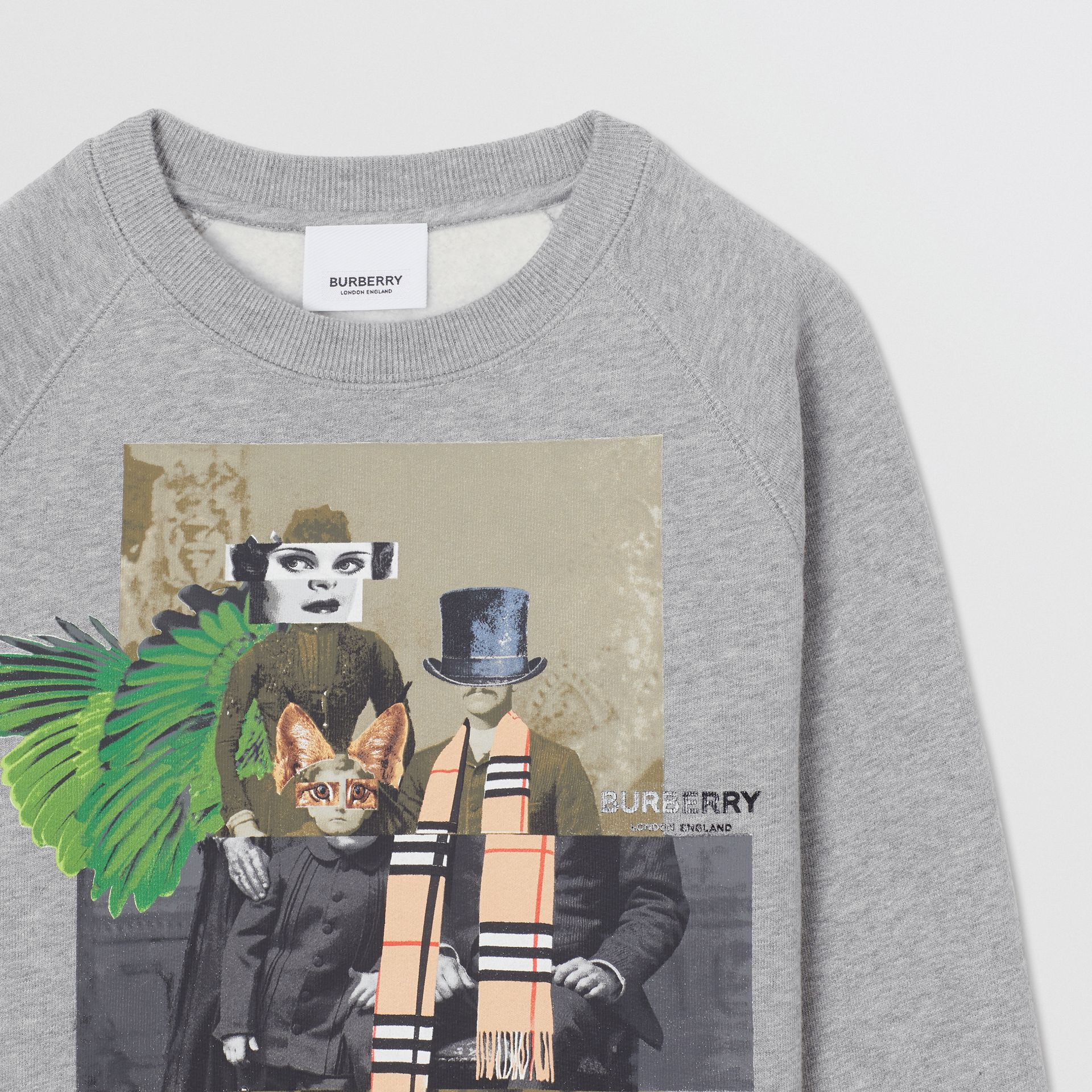 Collage Print Cotton Blend Sweatshirt in Grey Melange | Burberry - gallery image 5