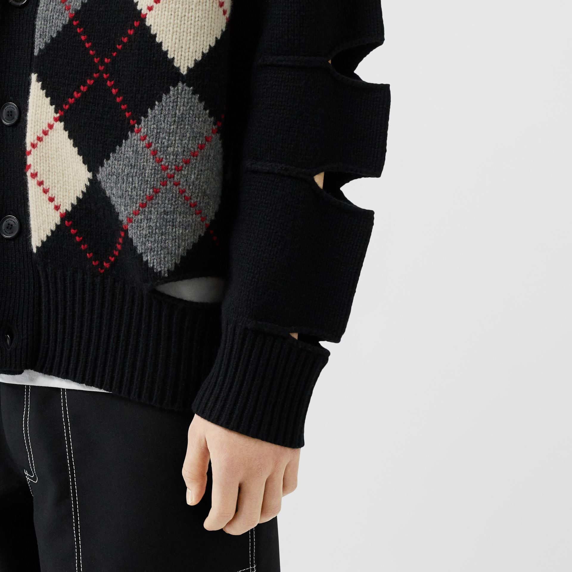 Cut-out Detail Merino Wool Cashmere Cardigan in Black - Men | Burberry - gallery image 4