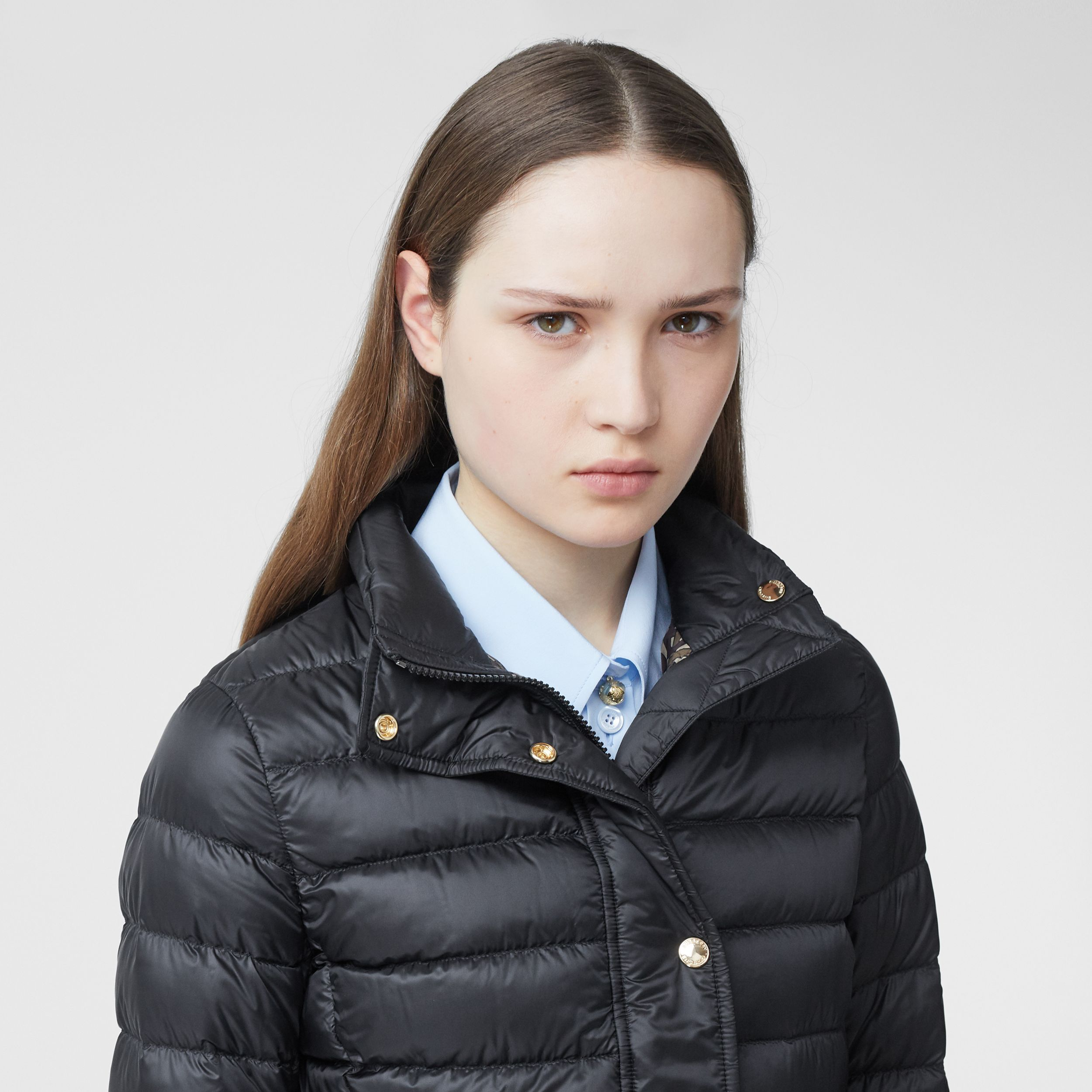 Monogram Print-lined Lightweight Puffer Jacket in Black - Women | Burberry - 2