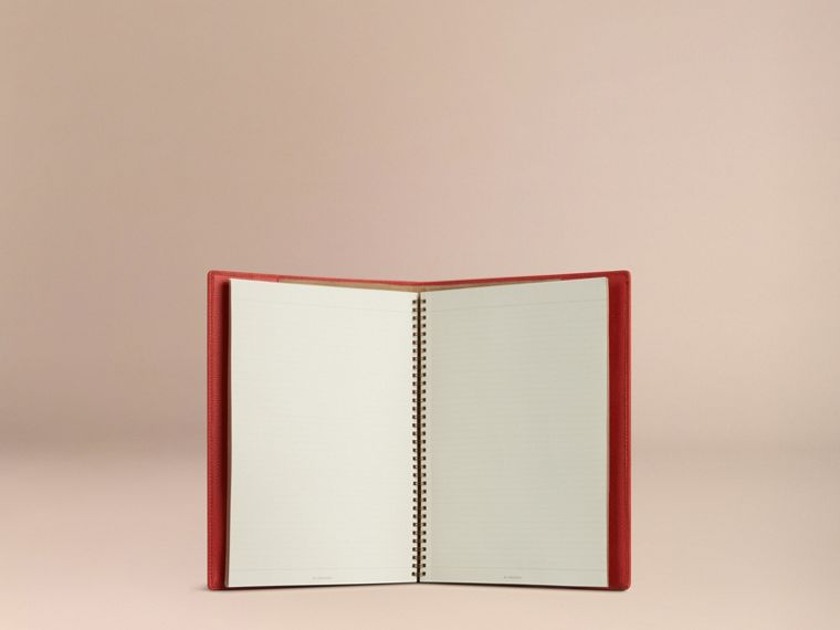 Grainy Leather A4 Notebook in Orange Red | Burberry Hong Kong - cell image 4