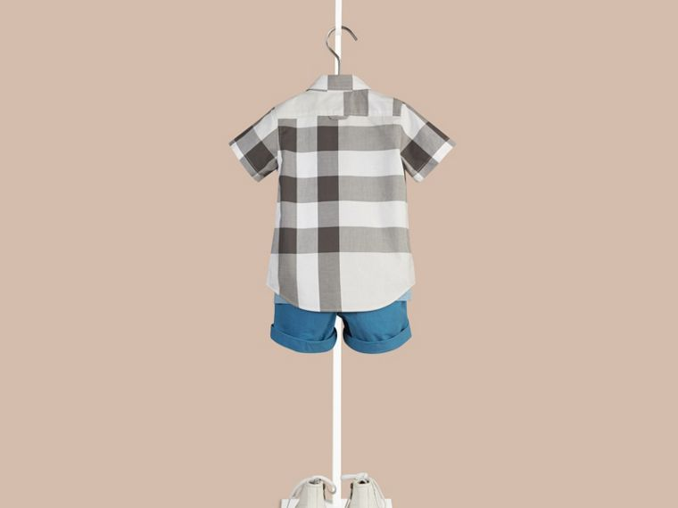 Pale stone Short-sleeved Check Cotton Shirt - cell image 1