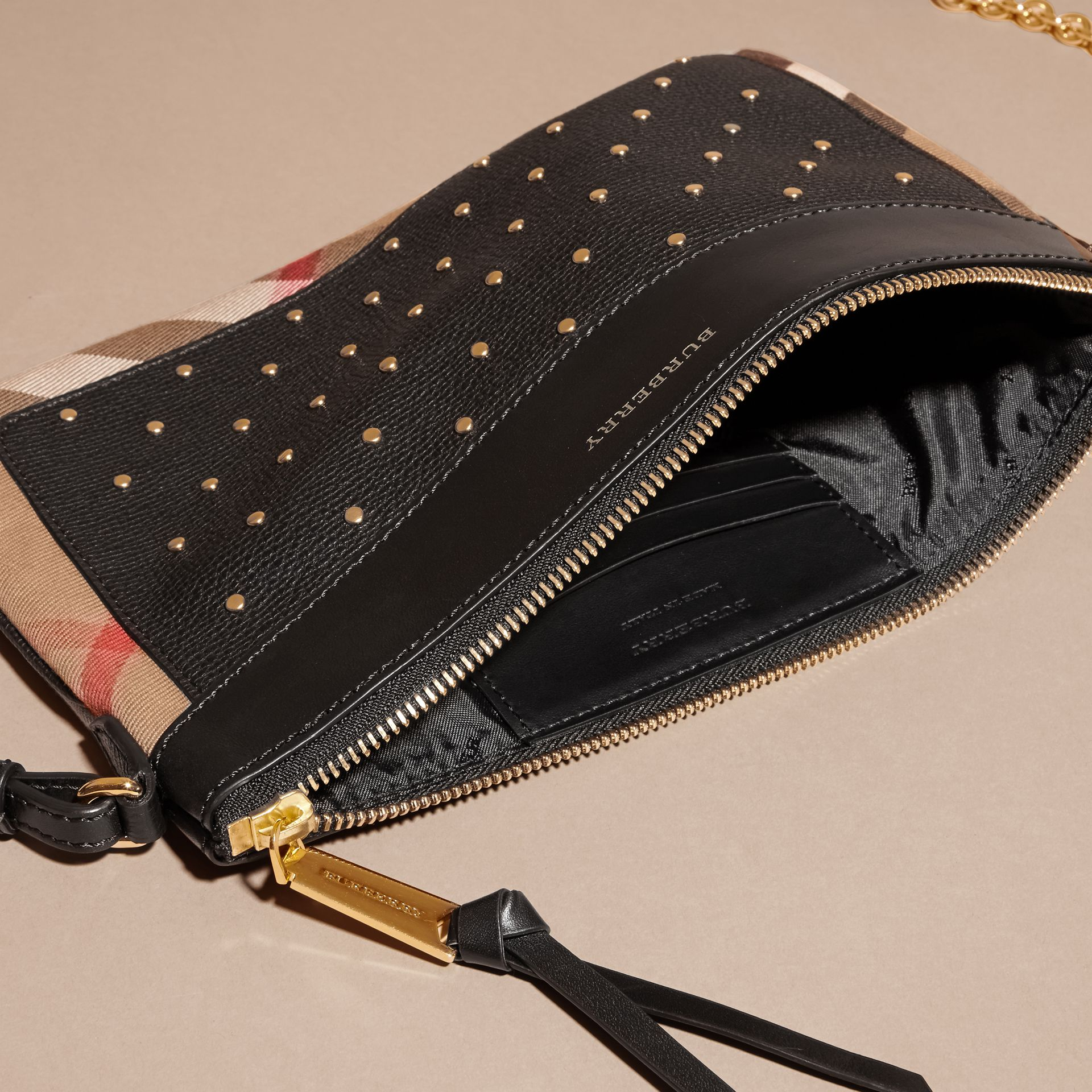 Riveted Leather and House Check Clutch Bag in Black - gallery image 6