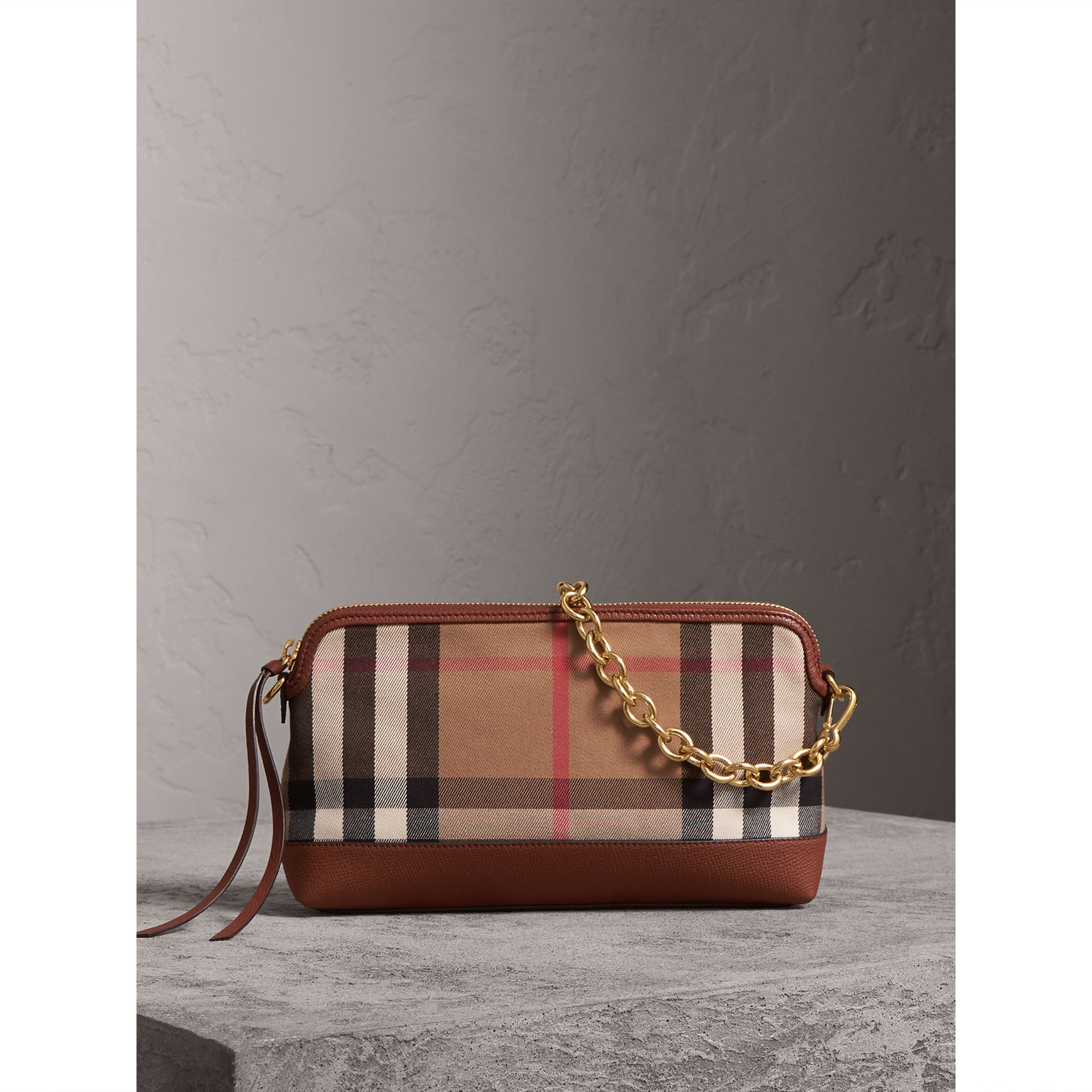 House Check and Leather Clutch Bag in Tan - Women | Burberry Canada - gallery image 1