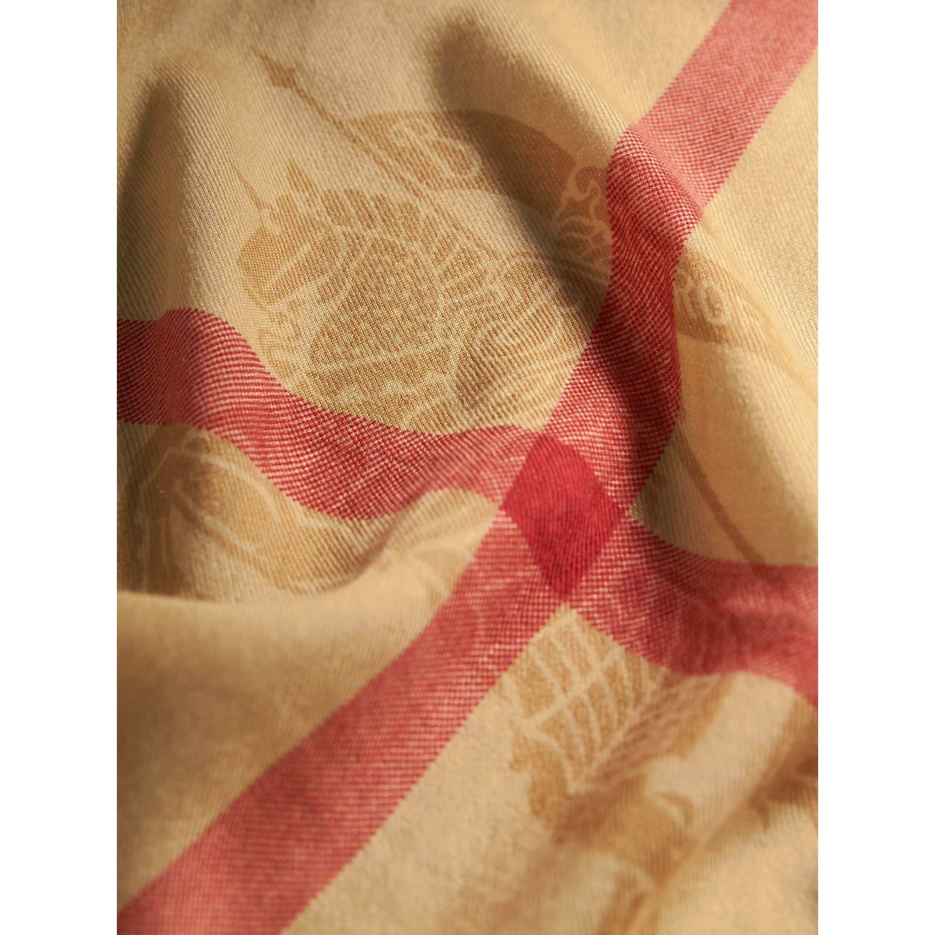 Contrast Border Horseferry Check Cashmere Scarf in Parade Red - Women | Burberry Australia - gallery image 2