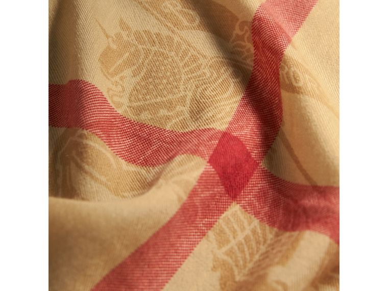 Contrast Border Horseferry Check Cashmere Scarf in Parade Red - Women | Burberry - cell image 1