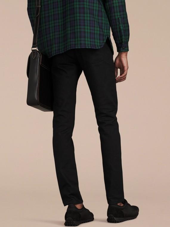 Preto Calças de tecido jeans japonês com corte slim Preto - cell image 2