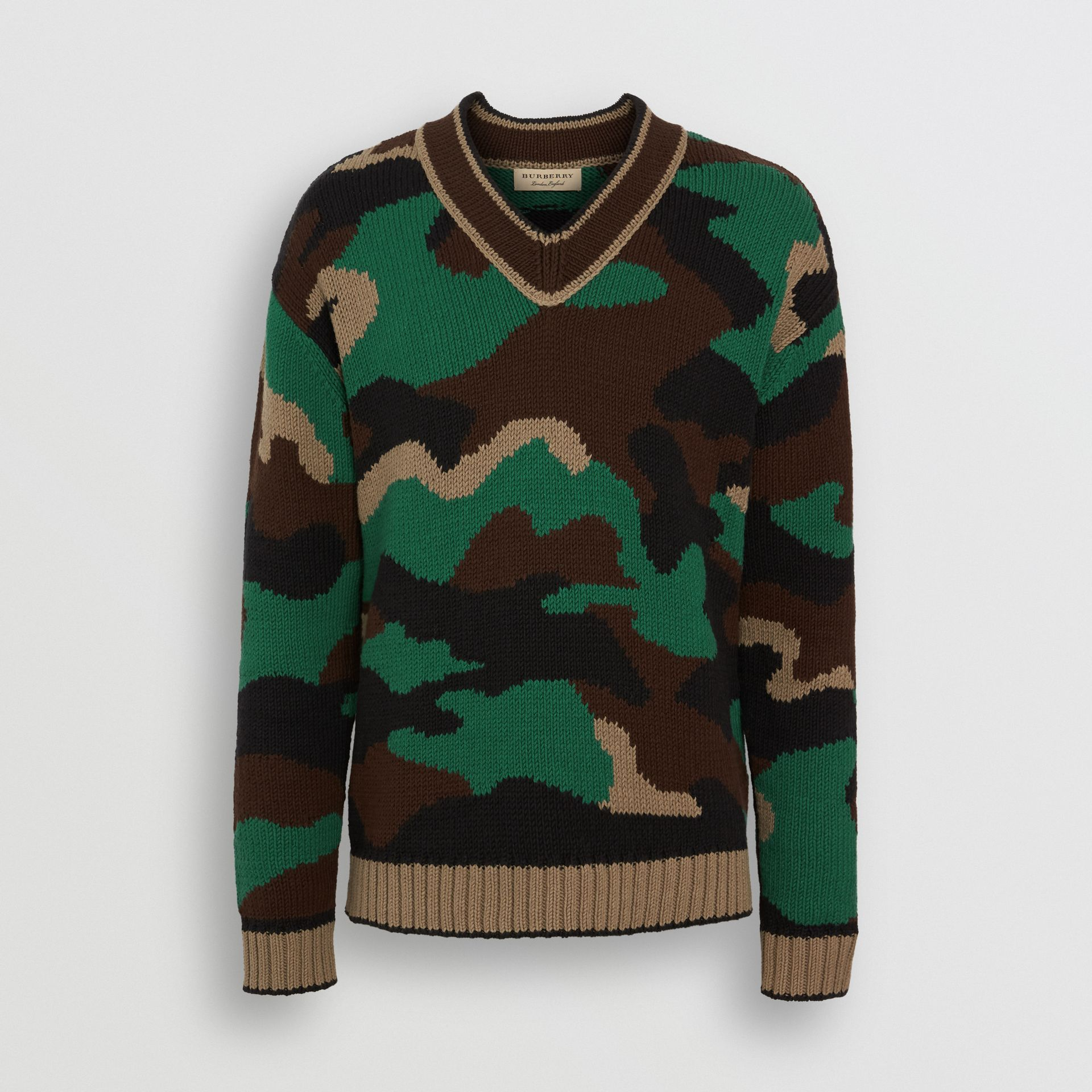 Camouflage Intarsia Cotton Blend Sweater in Forest Green - Men | Burberry Australia - gallery image 3
