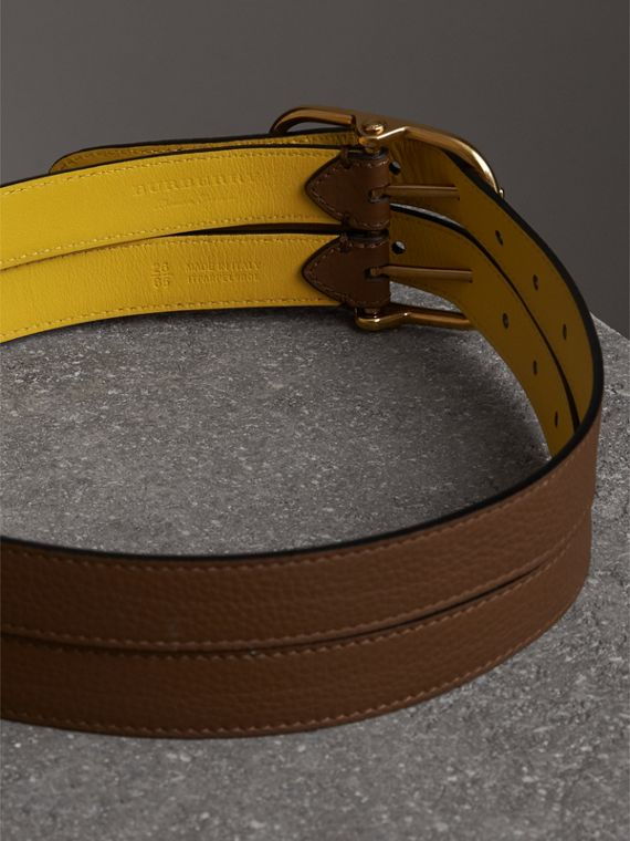 Double-strap Leather Belt in Tan/bright Larch Yellow - Women | Burberry - cell image 3