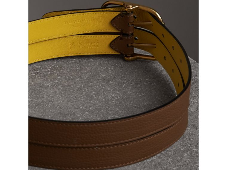 Double-strap Leather Belt in Tan/bright Larch Yellow - Women | Burberry - cell image 2