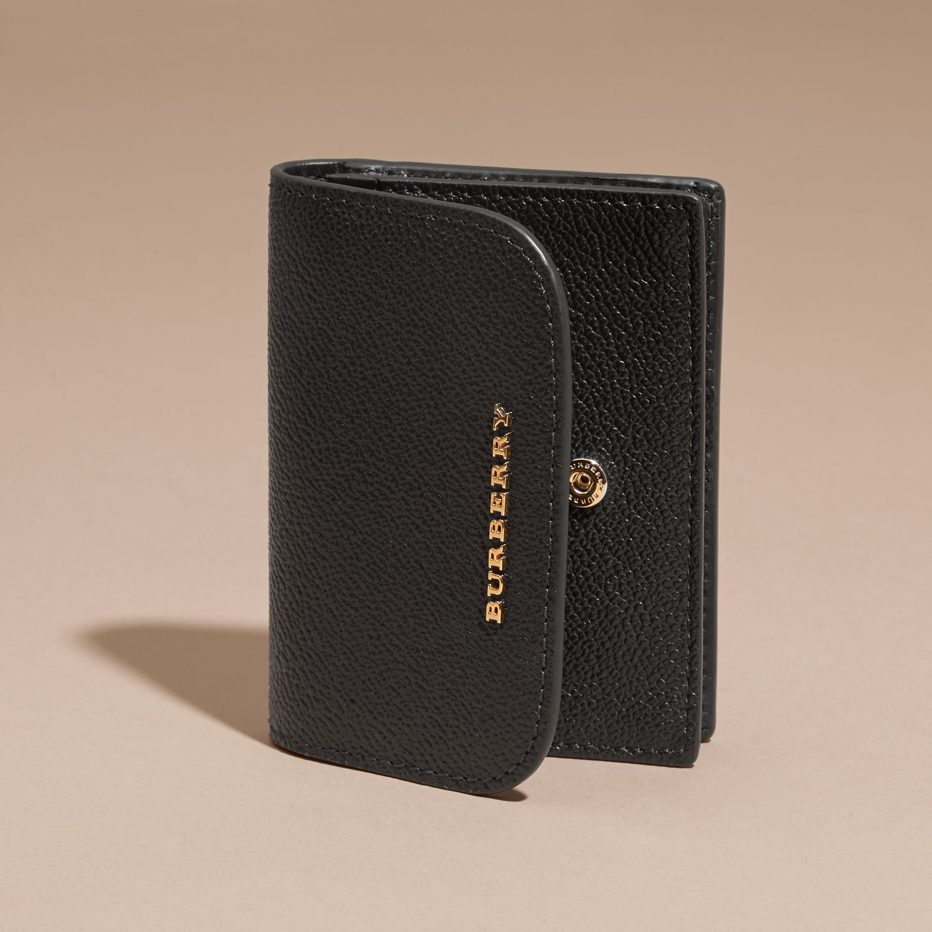 Grainy Leather Card Case Black - gallery image 3