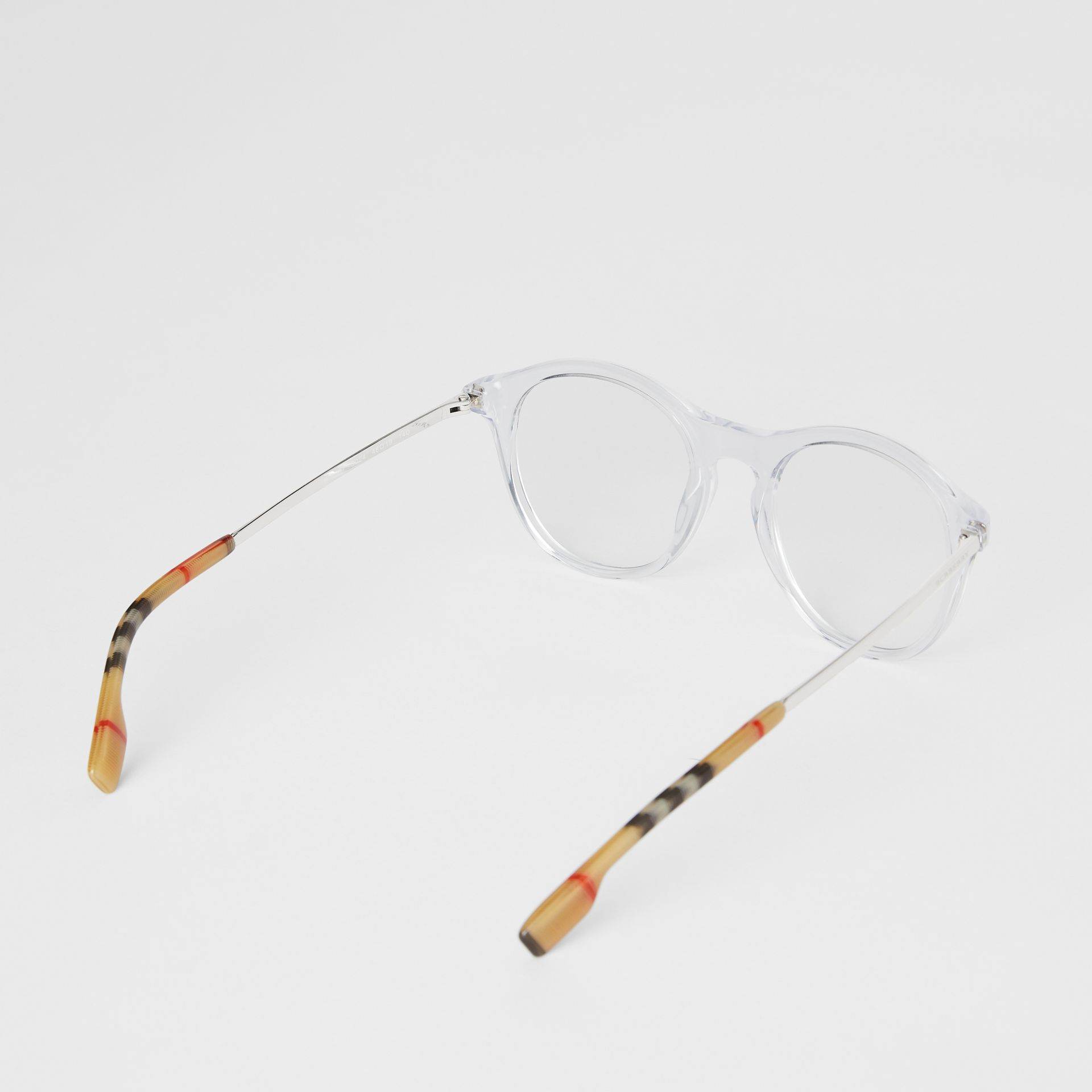 Vintage Check Detail Round Optical Frames in Crystal - Women | Burberry United Kingdom - gallery image 4