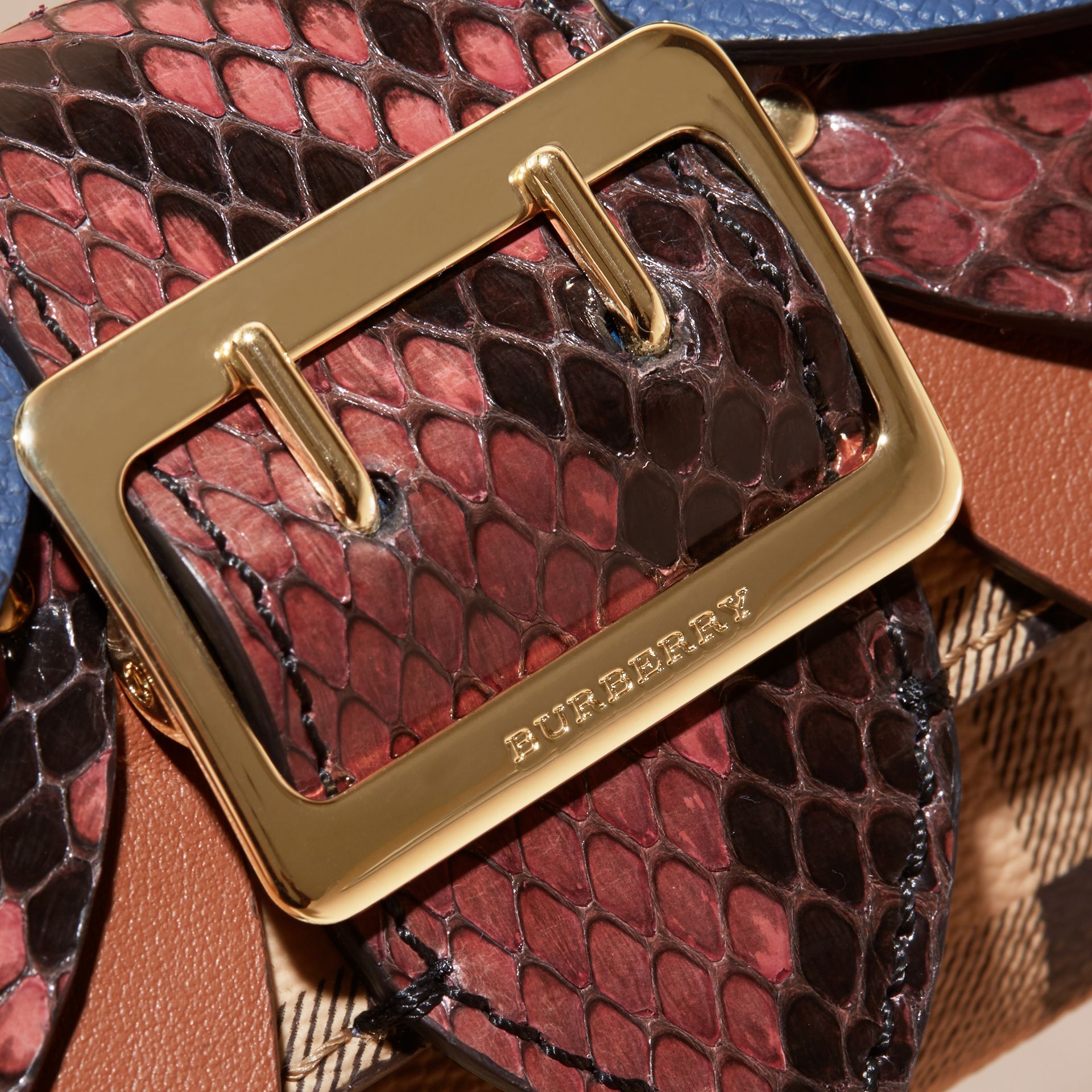 Snakeskin and Leather Haymarket Check Card Case - Women | Burberry - gallery image 2