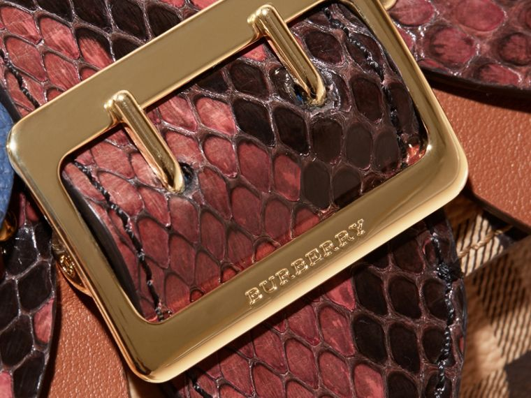 Snakeskin and Leather Haymarket Check Card Case - Women | Burberry - cell image 1